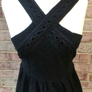 J.O.A. Dresses - JOA Black Lace Fit and Flare Midi Dress
